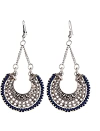 GirlZ! Blue And Silver Color Metal Chain Brincos Drop And Dangle Earrings For Women
