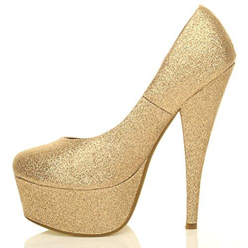 De Do Partido Do Sapatos De Único Trabalho Patamar Clássico Do Brilho Tamanho Bombas Ouro Alto Sapatos Senhoras Salto Hq7xzfBPMw