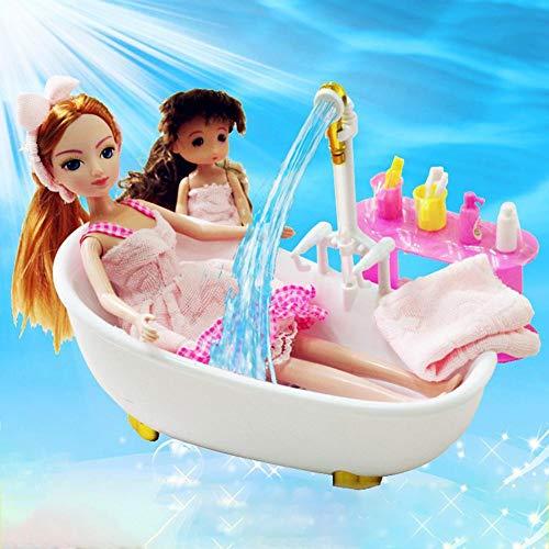 Puppenhaus Badezimmer, Puppenset Mit Automatischem Wasserbad, Kleidung, Badetücher, WC, Duschgel, Badewanne