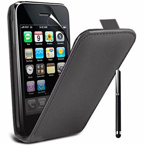 VCOMP® PU-Leder Handy Schutzhülle mit einer vertikalen Klappe für Apple iPhone 3G/ 3GS + Großer Eingabestift - SCHWARZ SCHWARZ + Großer Eingabestift