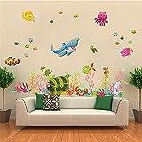 ufengke Karikatur Unterwasserwelt Nette Hai und Taucher Fisch Wandsticker,Kinderzimmer Babyzimmer Entfernbare Wandtattoos Wandbilder