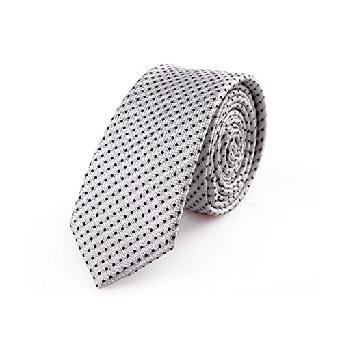 egant Necktie White Pattern Skinny Microfiber Tie (Skinny White Tie)