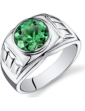 Revoni Herren 4.50 Karat Rundschliff Smaragd Ring 925 Sterlingsilber mit Rhodium Politur