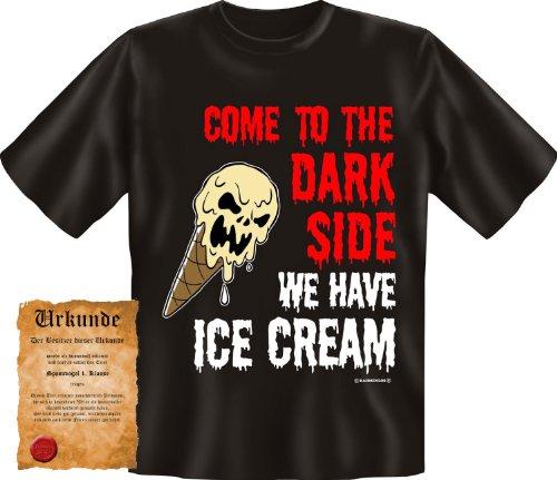 bedrucktes Karneval T-Shirt + Urkunde: Ice Cream - Herren Sprüche Shirt Fasching Fastnacht Geschenk (Teufel Und Engel Freund Kostüme)