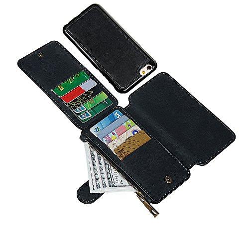 """xhorizon [14 Card Slots] [Magnetische abnehmbar] [Zipper Cash Wallet] Organizer Premium PU-Leder Umhängetasche mit Magnetverschluss für iPhone 6 (4.7"""") schwarz"""