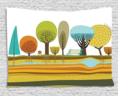 MLNHY Urban Tapestry, Illustration of Flat Park Elements in The City as Trees Roots Bench Soil and Water, Wall Hanging for Bedroom Living Room Dorm, 80 W X 60 L Inches, Multicolor