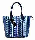 Canvas Tote Shopper Bag - Ideal Beach Bags - Holiday Shoulder Handbag Totes Shopping Style - 17 Floral Summer Print Designs - Daisy, Polka Dot, Wall Flower, Plain Navy Blue, Black - Quenchy London (Purple Aztec)