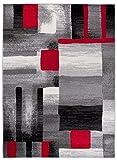 Tapis De Salon Moderne – Couleur Gris Noir Rouge Motif Géométrique Carreaux –...