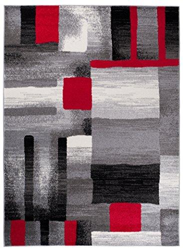 Alfombra De Salón Moderna – Color Gris Negro Rojo De Diseño Geométrico Cuadrado – Suave – Fácil De Limpiar – Mejor Calidad – Diferentes Dimensiones S-XXXL 140 x 190 cm