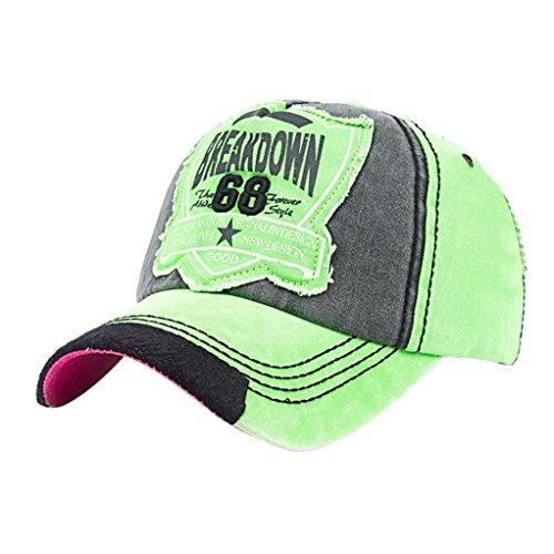 UFACE Kappe Baseballmütze Frauen Männer Buchstaben Denim Baseballmütze Snapback Hip Hop Flachen Hut (Grün)