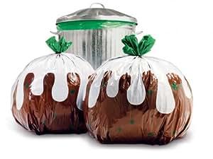 2 x Christmas Pudding Bin Bags By SUCK UK
