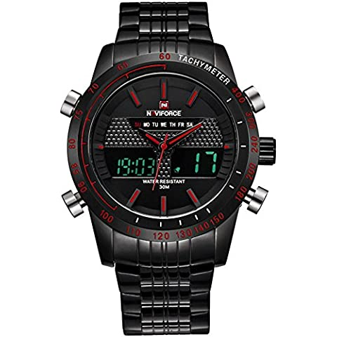 RollsTimi Reloj Militar Para Hombres, Acero Inoxidable Digital de los Deportes Day-Date Calendar Watches for Mens