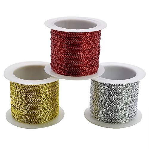 Bingpong 3 Rollen 60m Gold/Splitter/Rot Gold Drahtseil für Kleidung Tag DIY Handwerk Geschenk Verpackung Box Decor Festival Weihnachten Party Supplies (Rot)