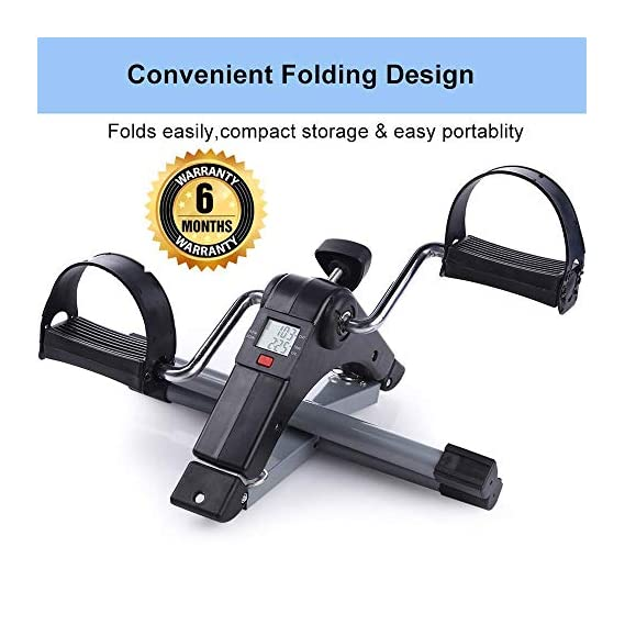 Owme Fitness Cycle - Foot Pedal Exerciser - Foldable Portable Foot, Hand, Arm, Leg Exercise Pedaling Machine - Folding Mini Stationary Bike Pedaler Fitness Gym Equipment for Seniors Digital Home Gym