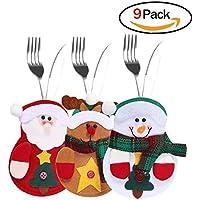 Hilai - 9 bolsitas para cubiertos, tres diseños de Papá Noel, reno, muñeco de nieve para decoración navideña mesa de cena