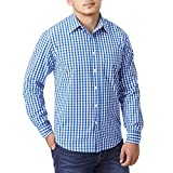Charles Wilson Originals Long Sleeve Men's Gingham Checked Casual Shirt (XX-Large, Blue)