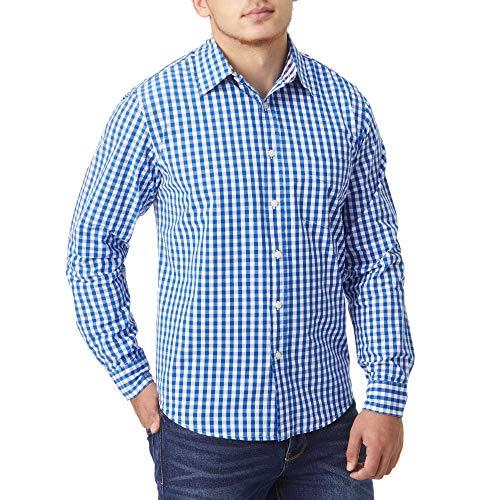 Charles Wilson Originals Kariertes Gingham Langarm Freizeithemd (Medium, Blue)