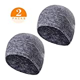 TAGVO 2 Packs Winter Thermal Fleece Running Hat, Beanie Cap Headwear with Ear Covers, Skull Cap Cycling Helmet Liner for Adults Women and Men Unisex Elastic Size Universal(Grey)