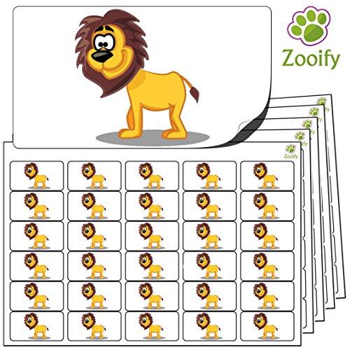 480 x Aufkleber - Löwe (38 x 21 mm). Hochwertige selbstklebende Etiketten mit Tiermotiv von Zooify.