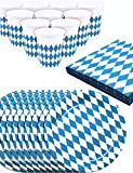 HomeTools.eu - Oktoberfest Party Geschirr Set | Bayern Bier-Party | Papp-Teller, Servietten, Becher | Bayrische Raute, blau-Weiss, 40-Teilig