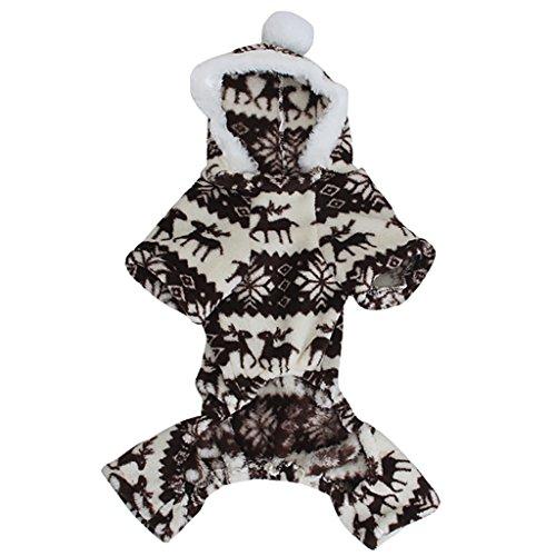 Sweatshirt Mit Kapuze Hund Flauschigen Mantel Overall W / Rentier Und Schneeflocke - Größe Xs