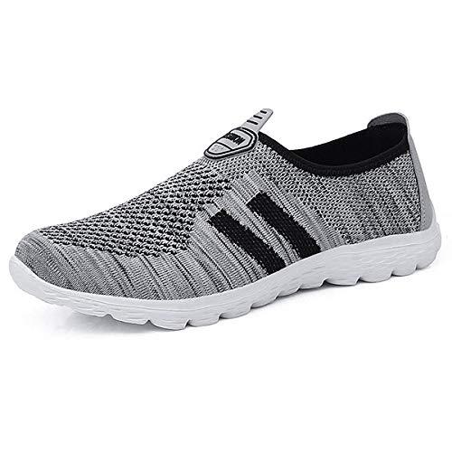 JIANKE Herren Damen Leichte Freizeitschuhe Atmungsaktiv Turnschuhe Sportschuhe Bequem Outdoor Fitnessschuhe Sneaker(Grau,39)