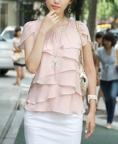 Cheerlife Damen Sommer Casual Slim Fit Kurzarm T-Shirt Rundhals Shirt Chiffon Top Bluse mit Volants Rosa