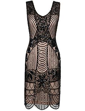 PrettyGuide Damen 1920er Gatsby Art Deco überbackene Saum Cocktail Charleston Kleider