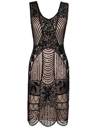 PrettyGuide Damen 1920er Gatsby Art Deco ¨¹berbackene Saum Flapper Charleston Kleider S Schwarz beige (Charleston Flapper Kleid)