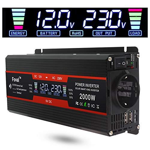 Descripción: Voltaje de entrada: DC 12V (10V-15.5V) Voltaje de salida: AC 220V ± 5% Salida de potencia máxima: 2000W más potencia: 1000W Frecuencia de salida: 50Hz ± 5% forma de onda de salida: Onda sinusoidal modificada fusibles: cortocircu...