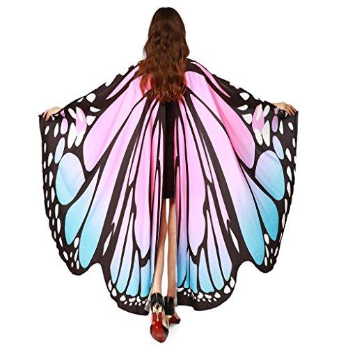 Disfraz Para Mujer/Niños, ❤️Xinantime Chal de alas de mariposa de las mujeres Bufandas Ladies Nymph Pixie Poncho Accesorio de disfraces (❤️Rosa)
