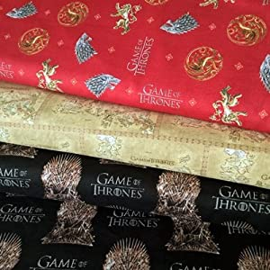 GAME OF THRONES FABRIC BUNDLE- SCFB04 - 3 Fat Quarters each 55 cm x 50 cm - 100% Cotton