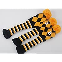mamimamih 3pcs/set Club de Golf Argyle Knit–Fundas para hierros de golf vintange Pom Pom calcetines Covers 1–3-5para controlador & Woods (Amarillo/Negro/Blanco)