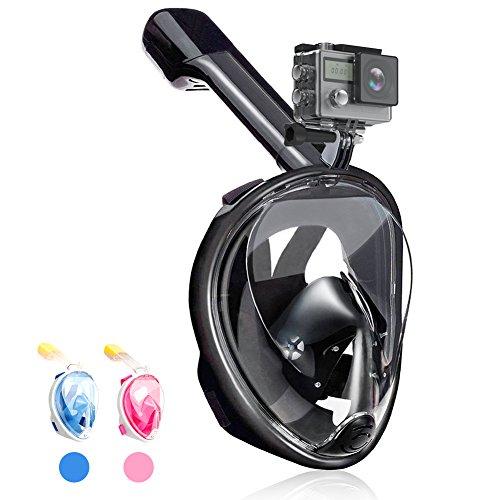 QcoQce Tauchmaske, Vollmaske Schnorchelmaske Vollgesichtsmaske mit 180° Sichtfeld, Dichtung aus Silikon Anti-Beschlag & Wasserdicht für Kinder und Erwachsene (Schwarz S/M)