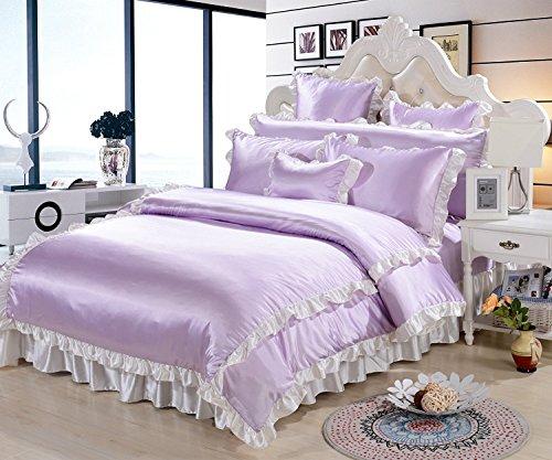 DACHUI Tencel Princess wind Spitze Bettwäsche vier Sätze von Weich Frühling und Sommer Heimtextilien Bettwäsche Kollektion, Lavendel, 1,5-1,8M (Lavendel-bett-satz)