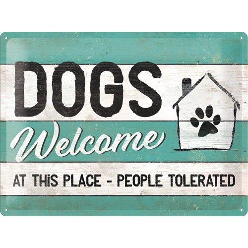 Nostalgic-Art 23246, Cartel de huellas–Dogs Welcome, Cartel de chapa 30x 40cm