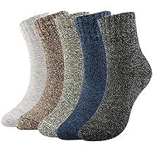 WOSTOO 5 Pares Calcetines de algodón Hombre Calientes Térmicos para invierno