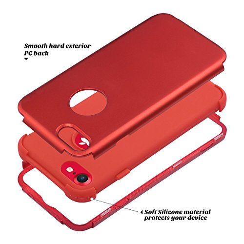 Custodia iPhone 7, ULAK iPhone 7 Cover ibrida a 3 strati in silicone a shell super protettiva prova di collisione case cover per Apple iPhone 7 (4,7 pollici) -Marmo Rosso+Rosso