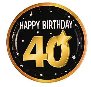 "Forum Novelties-40th Birthday Paper 9"" (8 in pkt) Platos, Color black, gold, white (X81638)"