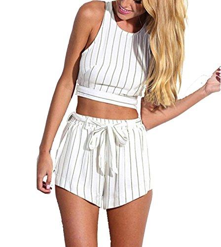 Minetom Donne Tute Sexy Chiffon Shirt E Pantaloncini Strisce Fiori Di Progettazione Bianco 38