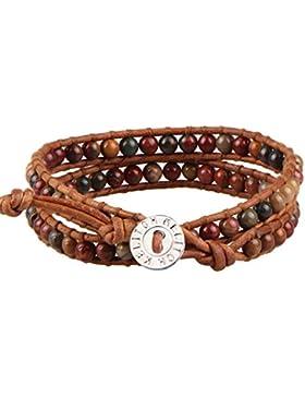 KELITCH Monatsstein Halbedelsteine Edelstein Perlen Wickelarmband Damen Leder Armbänder