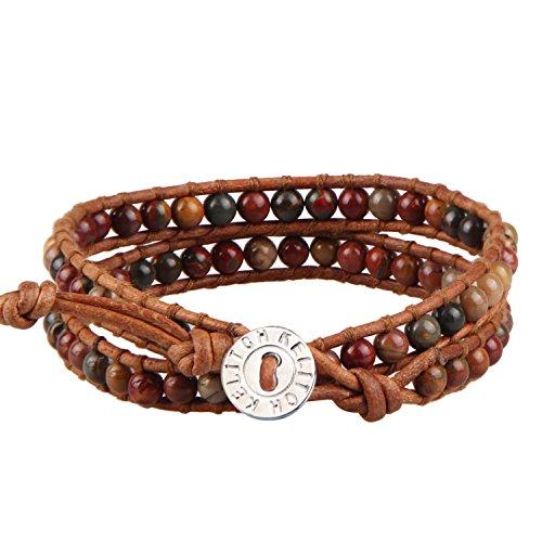 KELITCH Armbänder Leder Damen Herren Picasso Jaspis Perlen 2 Strand Braun Leder Wickelarmband Armband Freundschaftsarmbänder