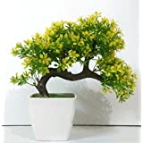 Hyperboles Bonsai Wild Plant Artificial Plant With Pot (26 cm, Yellow)