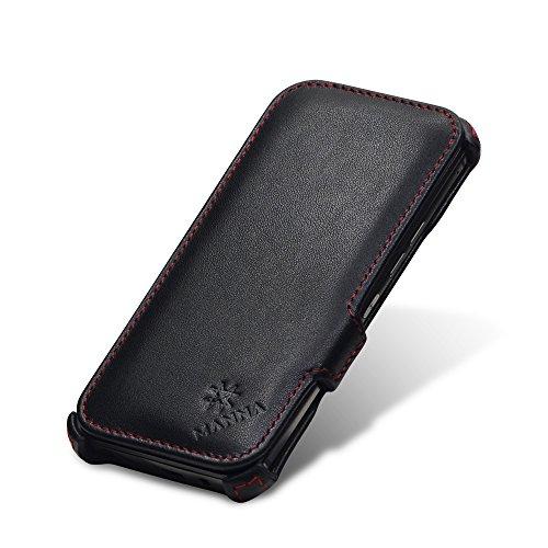 Custodia iPhone SE in vera pelle nappa nera - Cover con apertura a Flip per Apple iPhone SE, iPhon 5/5s Nero - Vera Pelle Nappa - Stand