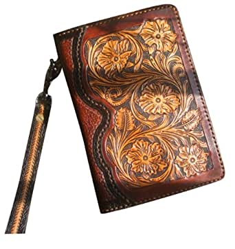 GPUFashion Handmade Leather Craft Wallet Zipper Closure Wristlet Strap Khaki Carved with Chocolate Tang Dynasty flower Design