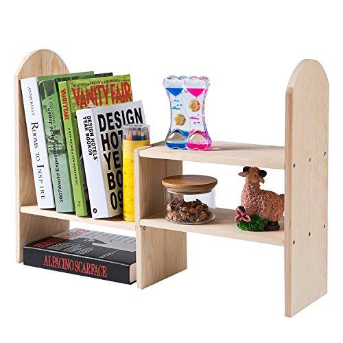 Natürliches Bambus Holz Modular Desktop Bücherregal, erweiterbar Regal Organizer -