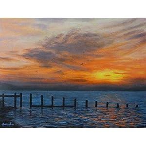 Original Seestück: 'Essex Küste Sonnenaufgang' - Acrylmalerei, 40cm x 30cm, dramatischer Himmel über dem Meer entlang der nördlichen Essex Küste bei Tagesanbruch.