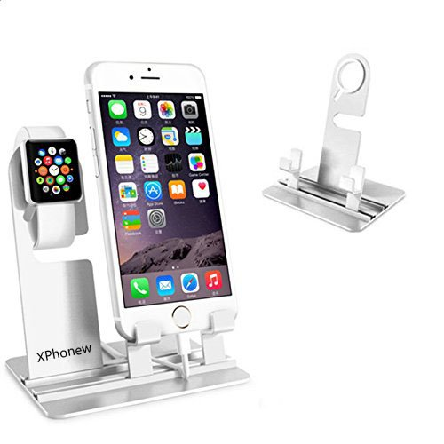 iPhone Charger Stand, XPhonew Aluminum Desktop Charging Docking Charger Dock Station Holder Stand for Apple Watch iWatch iPhone 7 Plus SE 6 6S Plus 5S 5C 4S All iPad Mobile Phone Tablet (Silver)
