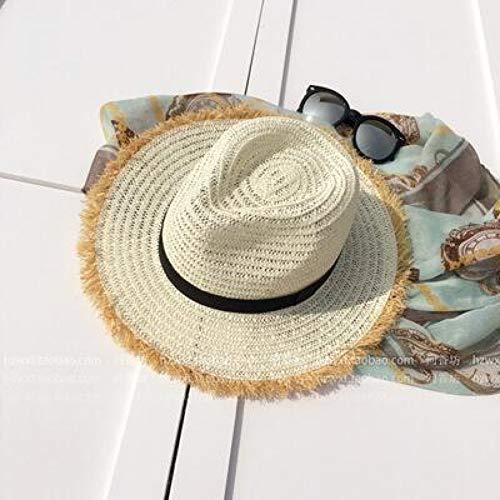 Fxhang Été Femmes Naturel Bord Large Bavure Raphia Chapeaux De Paille Fringe Femmes Plaine Grande Plage Sun Caps Grand Chapeau De Paille Chapeau,Blanc laiteux Femme Fringe
