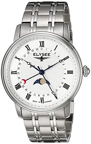 ELYSEE Made in Germany Monumentum Moon 77002 41mm Silver Steel Bracelet & Case Synthetic Sapphire Men's Watch
